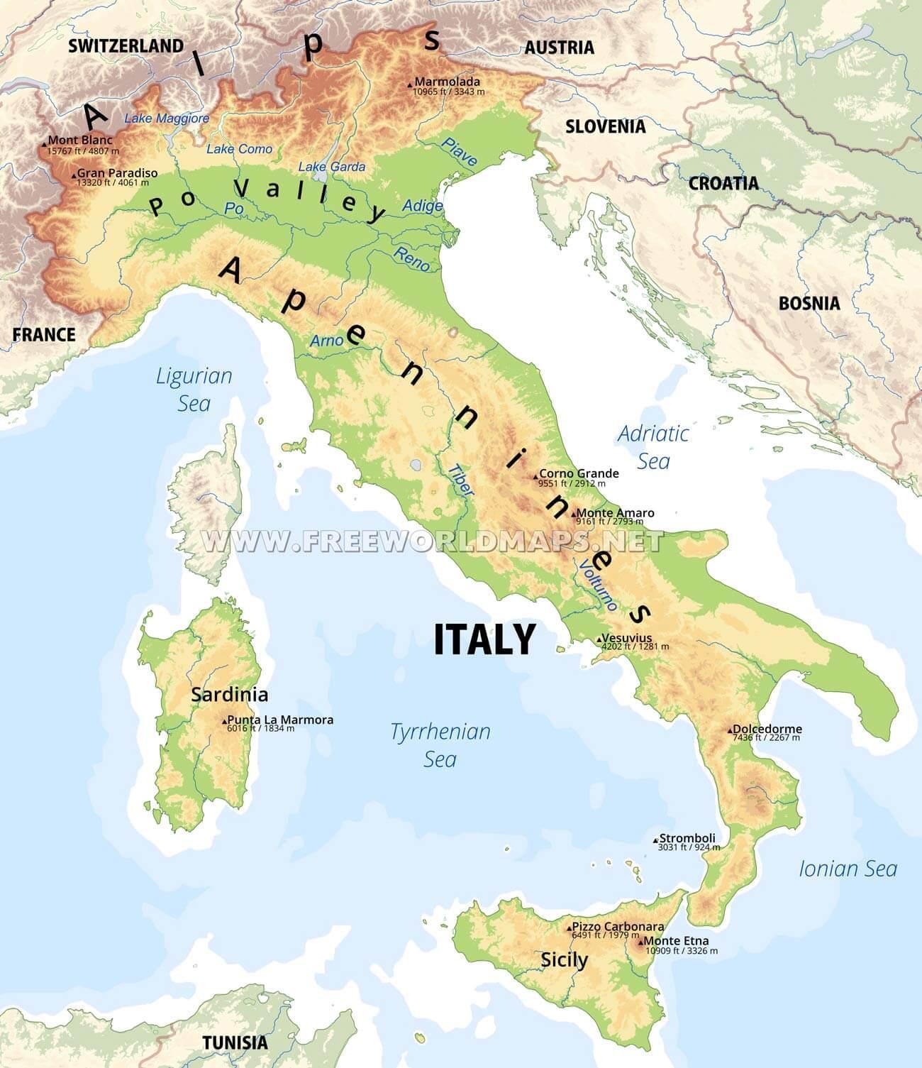 kart over italia Fysisk kart over Italia   Italia fysiske funksjoner kart (Sør  kart over italia