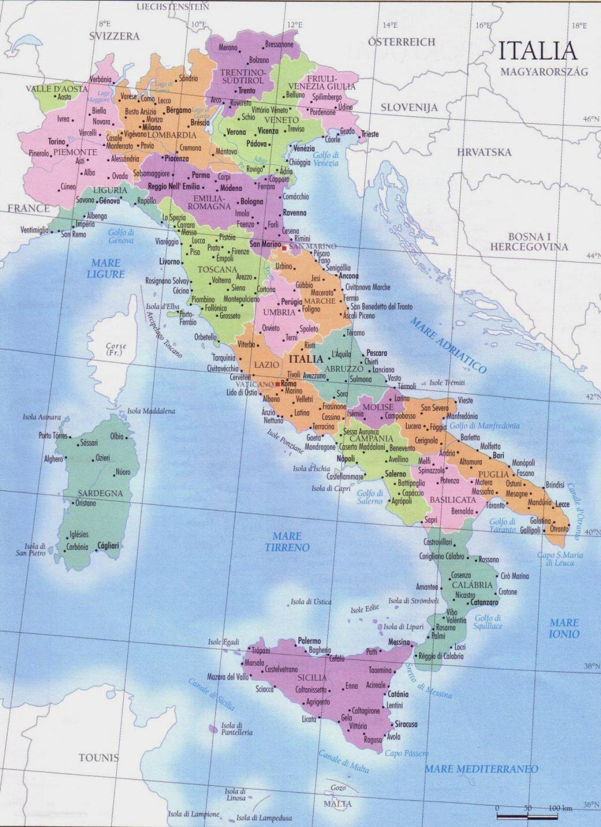 detaljert kart over italia Kart over Italia regioner   Detaljert kart over Italia regioner  detaljert kart over italia
