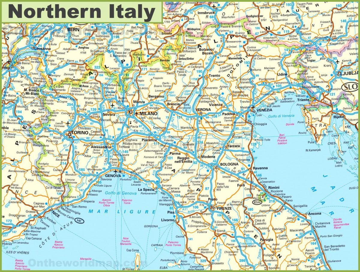kart over nord italia Kart over nord Italia byer   Nord Italia kart turist (Sør Europa  kart over nord italia